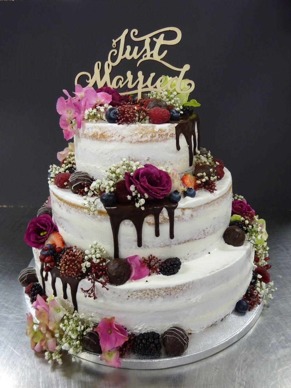 3-stöckige Naked-Cake Hochzeitstorte