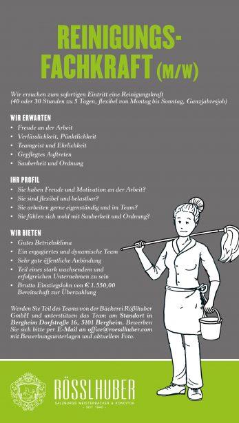 Stellenausschreibung Reinigungsfachkraft_Ro_sslhuber
