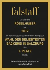 1. Platz - Beliebteste Bäckerei Salzburgs 2017, falstaff Auszeichnung