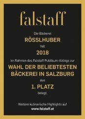 1. Platz - Beliebteste Bäckerei Salzburgs 2018, falstaff Auszeichnung