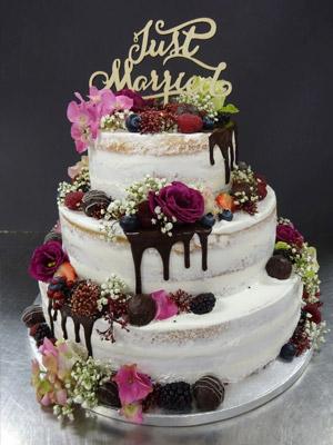 3-stöckige Hochzeitstorte - Naked Cake